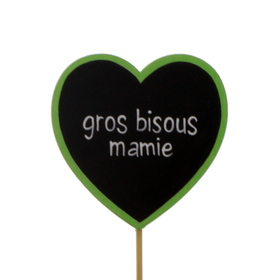 Heart Gros Bisous Mamie 6cm on 10cm stick FSC Mix green