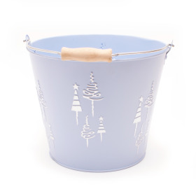 Zinc Bucket X-Mas Tree Ø18.5 H14.5cm ice blue