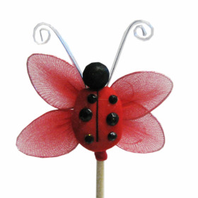 Jewel Ladybug 2.75in on 20in stick  red