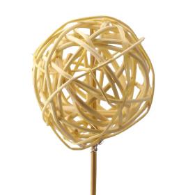 Rattan/Lata Ball 8cm on 50cm stick yellow