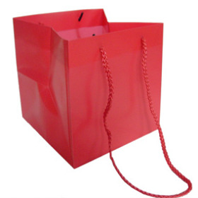 SQUARE CARRYBAG 6.25X6.25X6.25 IN RED