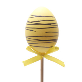 Chocolate Egg 6cm on 50cm stick yellow