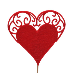 Heart Little Romance 7cm on 10cm stick red