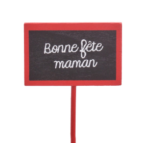 Bonne Fête Maman 7.5x5cm on 50cm stick red