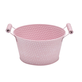 Zinc Bowl Honeycomb Ø7 H4 in pink