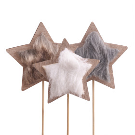 Furry Star 8.5cm on 10cm stick assorted x3