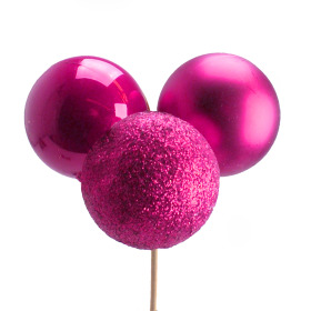 Christmas Balls Trio Mixed 4cm on 50cm stick cerise