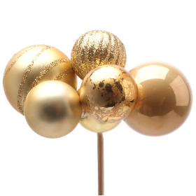 Christmas Balls Assorted x6 on 50cm stick gold