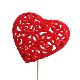 Heart Baroque 7cm on 50cm stick red