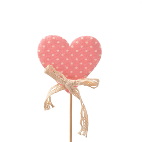 Heart Dotted Love 6.5cm 10cm stick pink