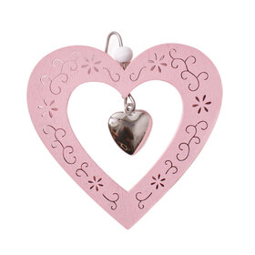 Heart Pendant 9cm with hook pink