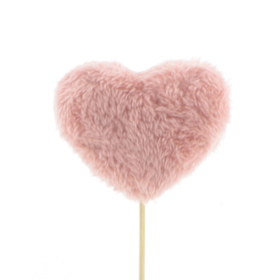 Heart Teddy 3in on 20in stick pink