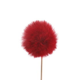 Fluffy ball 5cm on 10cm stick burgundy