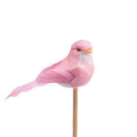 Bird Bibi 10cm on 50cm stick pink