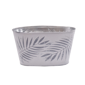 Pot Zinc Oval Urban Jungle 8.5x4.5x4.5 in gray