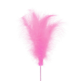 Feather 14cm on 50cm stick pink
