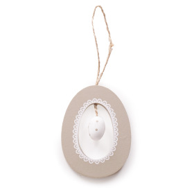 Wooden Egg in Egg 7cm gray