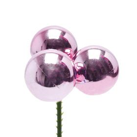Christmas Balls Shiny Trio 3cm on 50cm stick pink