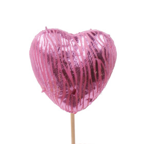 Heart Love Deluxe 6cm on 10cm stick pink