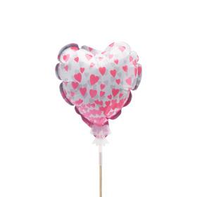 Balloon Send Love 12.5cm on 50cm stick pink