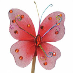 Butterfly Oriënt 7cm on 15cm stick red