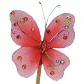 Butterfly Oriënt 7cm on 50cm stick red