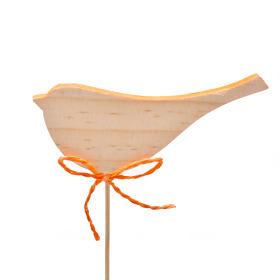 Wooden Bird Robin 7cm on 10cm stick orange
