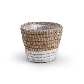 Pot basket Moroccan Ø14.5 H12.5cm white