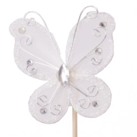 Butterfly Oriënt 7cm on 50cm stick white