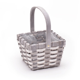 Basket Stripes Handle 6.7x6.7 in white