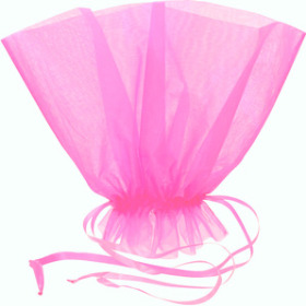 Organza Bqt roset Holder 20x12 in pink