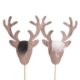 Reindeer Sven 12cm on 50cm stick assorted