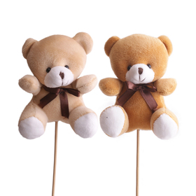 Bear Teddy 14x14cm on 50cm stick assorted x2