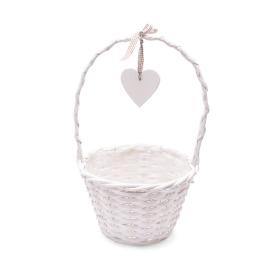 Basket Garden Heart Ø24 H16 TH40 white