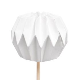 Pompon 7.5cm on 50cm stick white