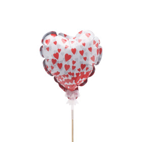Balloon Send Love 12.5cm on 50cm stick red