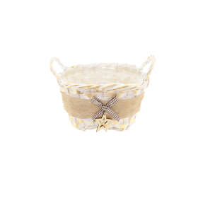 Basket Balthazar 24x14x9cm oval white/gold