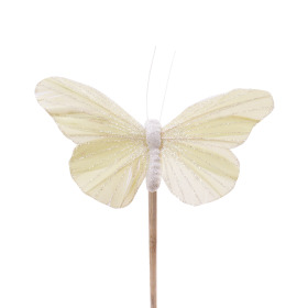 Butterfly Rosy 10.5cm on 50cm stick pastel yellow