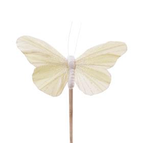 Vlinder Rosy 10.5cm op 50cm stok pastel geel