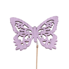 Butterfly Anna 2.9 in on 20 in stick lilac