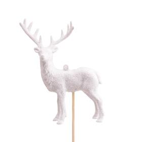 Rendier Vixen 14x10cm op stok 50cm wit