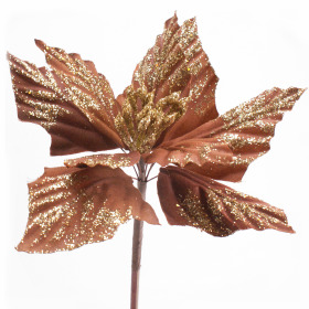 Poinsettia 20cm on 50cm stick brass