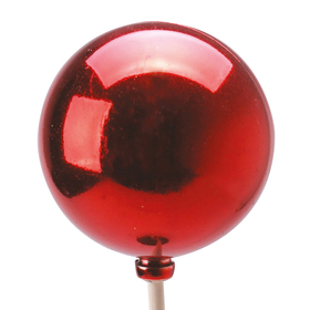 Xmas Ball Shiny 2.5in on 20in stick red