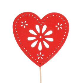 Heart Flower Art 8cm on 50cm stick red