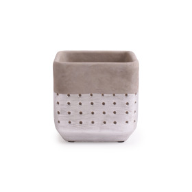 Concrete Pot Filigree 13.6x13.6 H13cm deep Silver