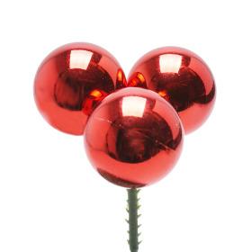 Christmas Balls Shiny Trio 3cm on 50cm stick red