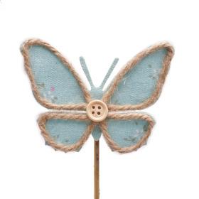 Butterfly Linn 8.5cm on 10cm stick blue
