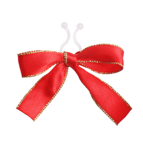 Satin bow Carol 10cm with clip red