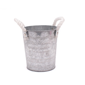 Zinc Bucket Grow With Love Ø7.3 H6.5 in