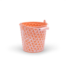Zinc Bucket Diamond 4 in washed orange